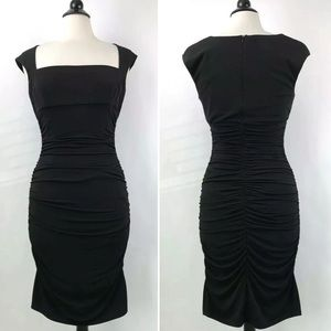 David Meister Bodycon Ruched Dress Size 8 Black